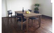 サーモアッシュ無垢ダイニングテーブル150サイズ・アッシュチェアレザー(ブラック色)4脚セット