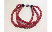 赤珊瑚108珠3連ブレスレット