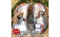 れんこ鯛・かます・あじ開き、藁焼きカツオたたきの漁師直送セット/岡岩商店