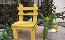 イエローペイントがかわいい 椅子型フラワースタンド 小 黄色