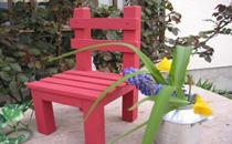 レッドペイントがかわいい 椅子型フラワースタンド 小 赤色