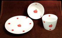 水玉フルーツ茶碗・カップ・お皿の3点セット(子ども用)