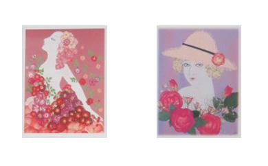 西村恭子魅惑の世界 押し花で描く美人画 オリジナルポストカード バラシリーズ5枚セット