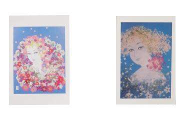 西村恭子魅惑の世界 押し花で描く美人画 オリジナルポストカード ブルーシリーズ5枚セット