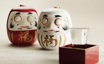 千駒 清酒 縁起物 白河だるま酒(赤・白)500ml×2