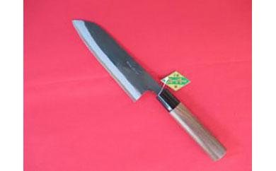 土佐打刃物職人謹製・本格黒打ち青紙スーパー鋼入り三徳包丁刃渡り165mm