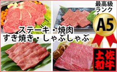土佐和牛A5満喫セット2.3kg「南国」牛肉ステーキ焼肉すきやきしゃぶしゃぶ