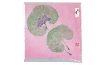 自然を感じる癒し系ハンカチ「蕗ずりハンカチ(ピンク)」