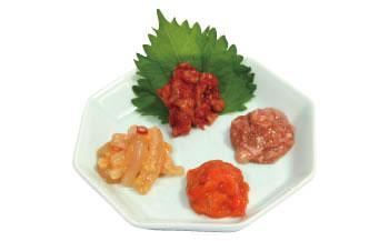 珍味の絶品4品セット(かつを素酒盗/天然赤ほや塩辛/辛ちゃんじゃ/朝いか(味噌味))