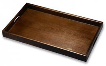 60cm木製長手盆【黒檀調】(天然木・ウレタン塗・日本製・紀州漆器)