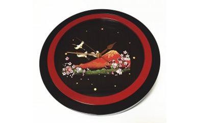 紀州漆器掛け時計 蒔絵一富士二鶴三桜