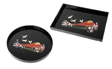 長手盆・丸盆2枚セット富士に桜(木製・カシュー漆塗り)【紀州漆器】