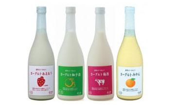 ヨーグルトあまおう、柚子酒、梅酒、みかん720ml4本セット