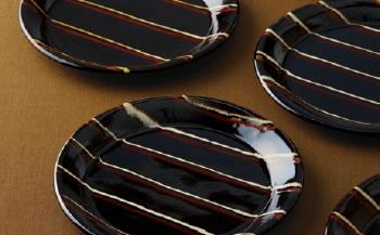 益子焼丸皿5枚セット